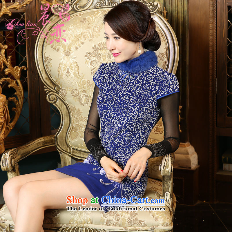Land 2015 autumn and winter morning new stylish retro improvement of daily rabbit hair collar short of qipao wool? porcelain porcelain?XL