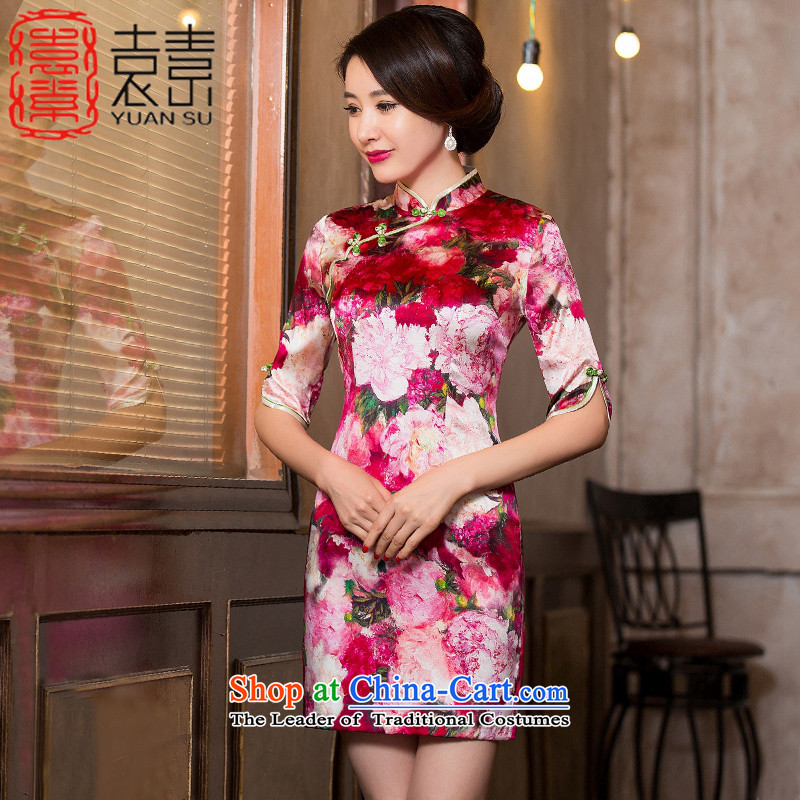 Yuan of Yue and heavyweight silk cheongsam dress new improved cheongsam with sauna Silk Cheongsam autumn dresses in cuff China wind female�HY6051A�RED�XL