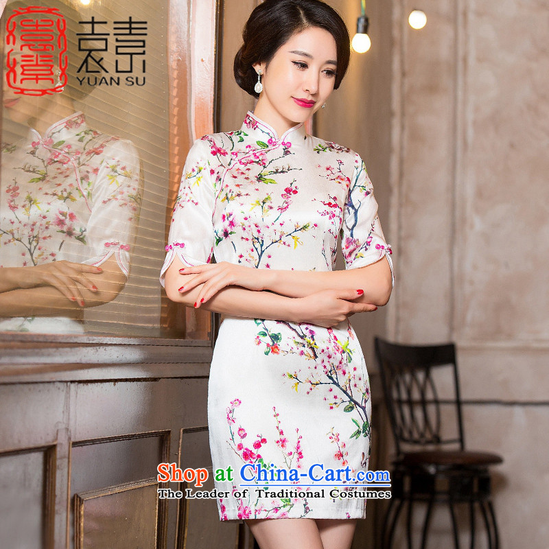 Mr YUEN of United Mui?2015 heavyweight silk cheongsam dress autumn load improved cheongsam dress, New China wind cheongsam dress?HY652A?picture color?XL