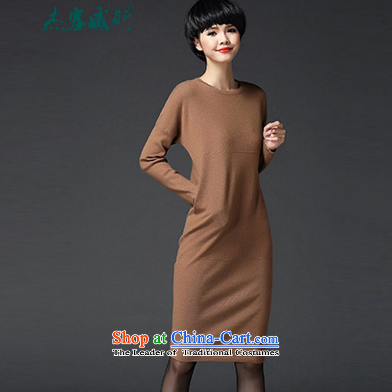 In the Fall of Jericho for winter new women's dresses-round-neck collar long-sleeved long skirt knitted dresses female and color are code
