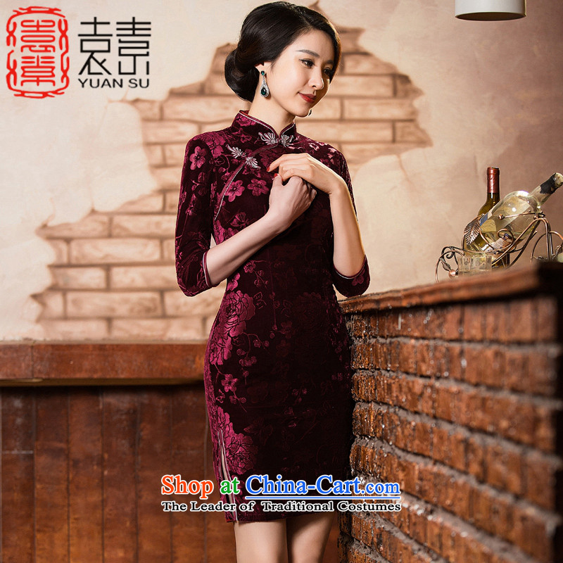Yuan of Lau�Kim scouring pads qipao Heart 2015 Autumn replacing retro improved cheongsam dress in older women's mother replacing cheongsam dress new�QD301�dark red�L