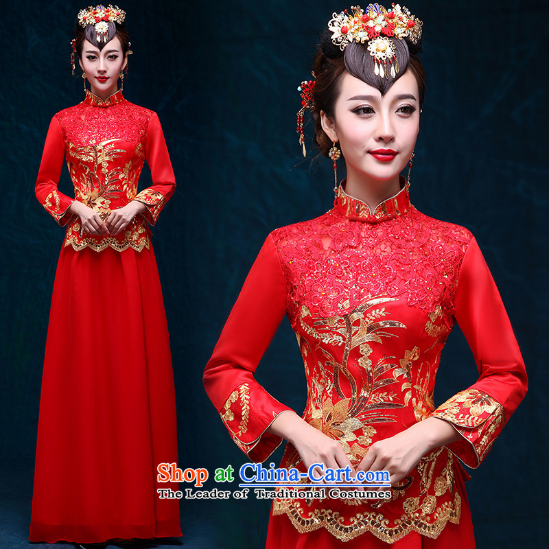 In accordance with China, love bows services marriages cheongsam long-sleeved long winter, Sau Wo Service Red Chinese New Year 2015 improved long evening dress warm winter 7 Cuff + Head Ornaments L