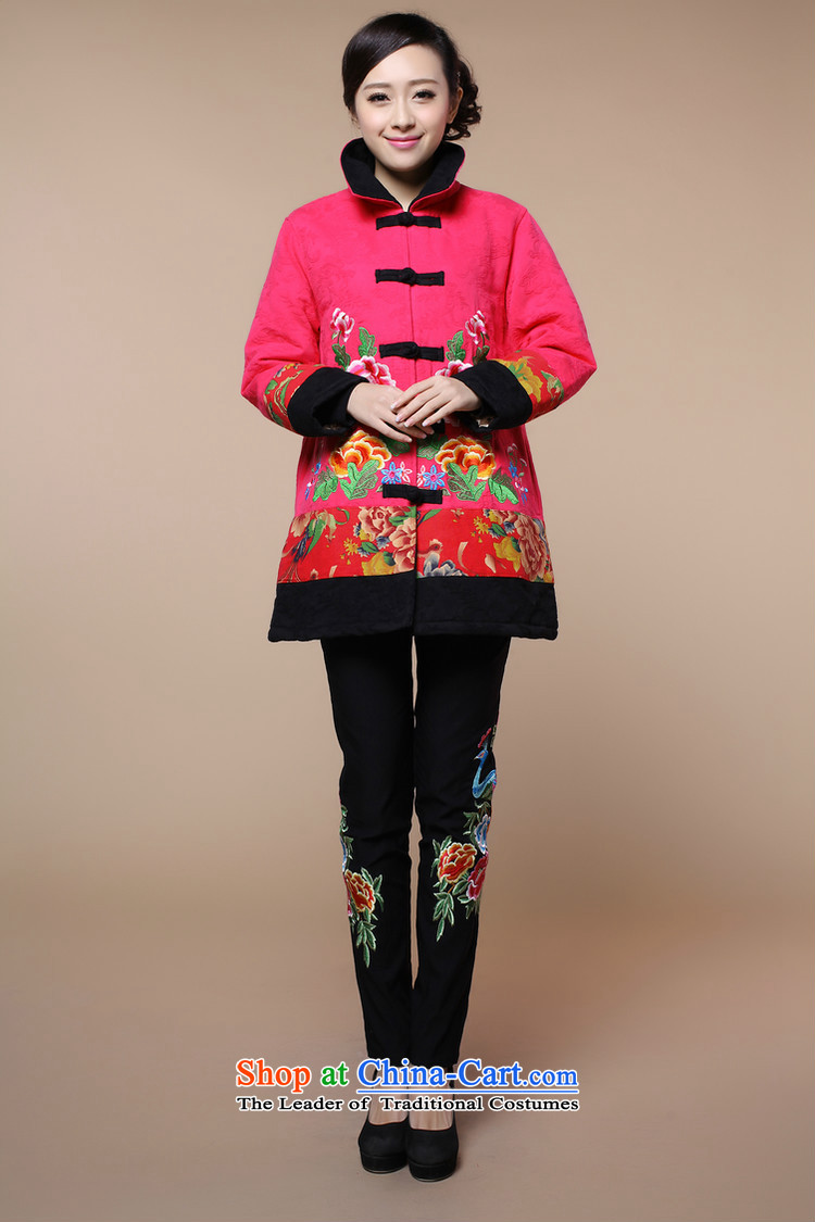 2015 winter clothing new retro embroidery Tang dynasty xl cotton linen in long cotton coat jacket female in the redXL Photo, prices, brand platters! The elections are supplied in the national character of distribution, so action, buy now enjoy more preferential! As soon as possible.