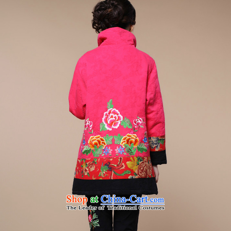2015 winter clothing new retro embroidery Tang dynasty xl cotton linen in long cotton coat jacket female in the red and Asia (XL, charm charm of Bali shopping on the Internet has been pressed.