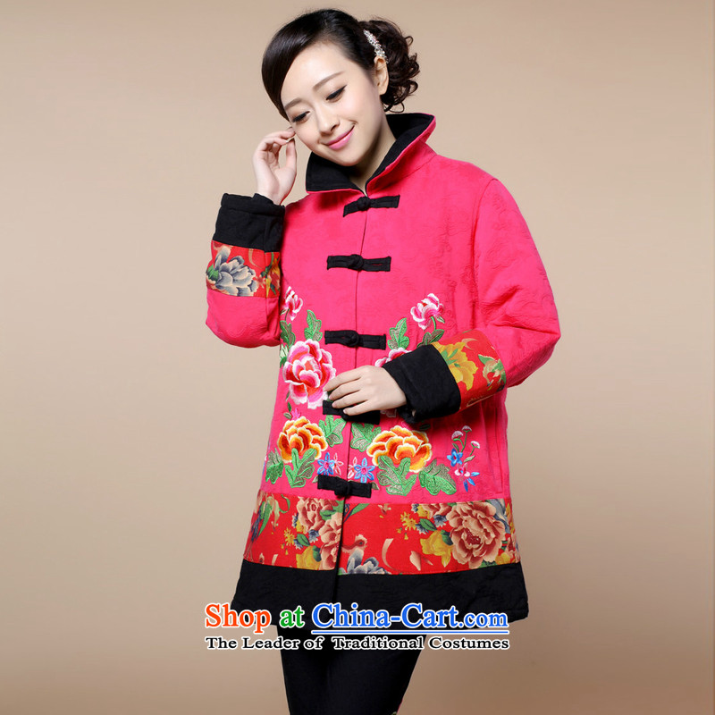 2015 winter clothing new retro embroidery Tang dynasty xl cotton linen in long cotton coat jacket female in the redand Asia (XL, charm charm of Bali shopping on the Internet has been pressed.