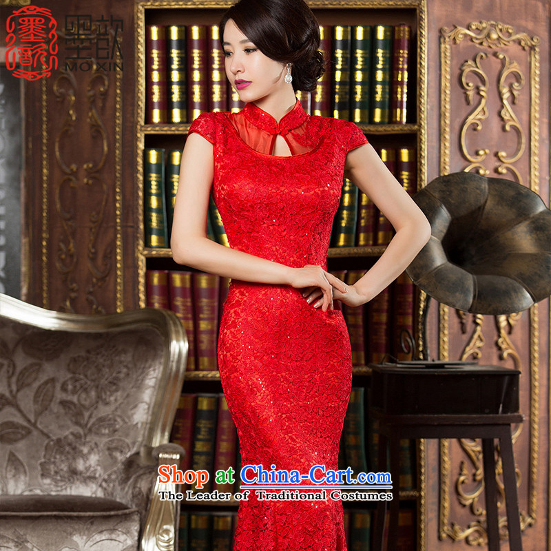 The southern red lace ? cheongsam dress cheongsam with improved autumn Ms. banquet crowsfoot Ms. skirt dress the new bride wedding services�HY901 bows�red�S
