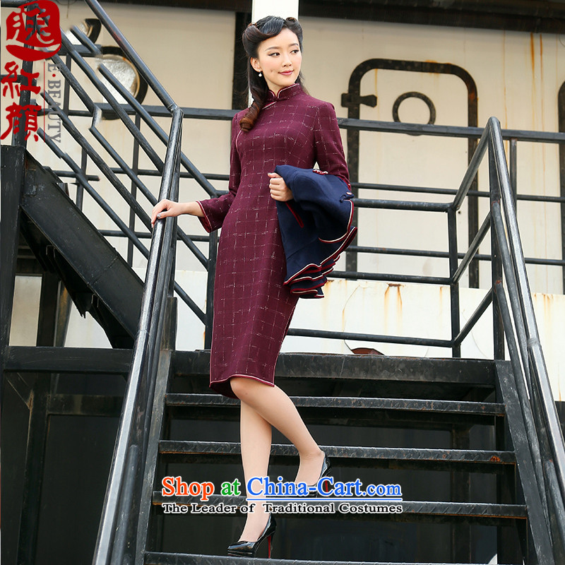 A Pinwheel Without Wind Fang Yu Yi�15 autumn and winter new stylish medium to long term, improved qipao 7 cuff cheongsam dress of carmine gross? color燲L