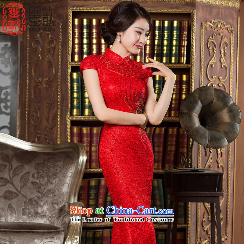 The ink-red�2015 improvements ? qipao fall inside the water-soluble Ms. lace crowsfoot skirt Chinese Dress bridal dresses bows chief qipao�HY902�RED�L