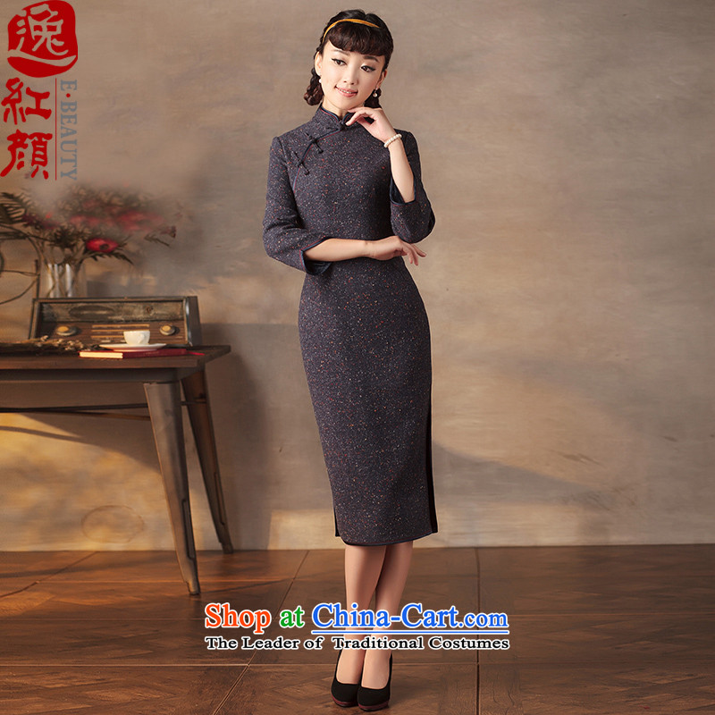 A Pinwheel Without Wind GEL INK   Yat Stylish retro cheongsam dress�15 autumn and winter so gross new improved qipao navy燲L