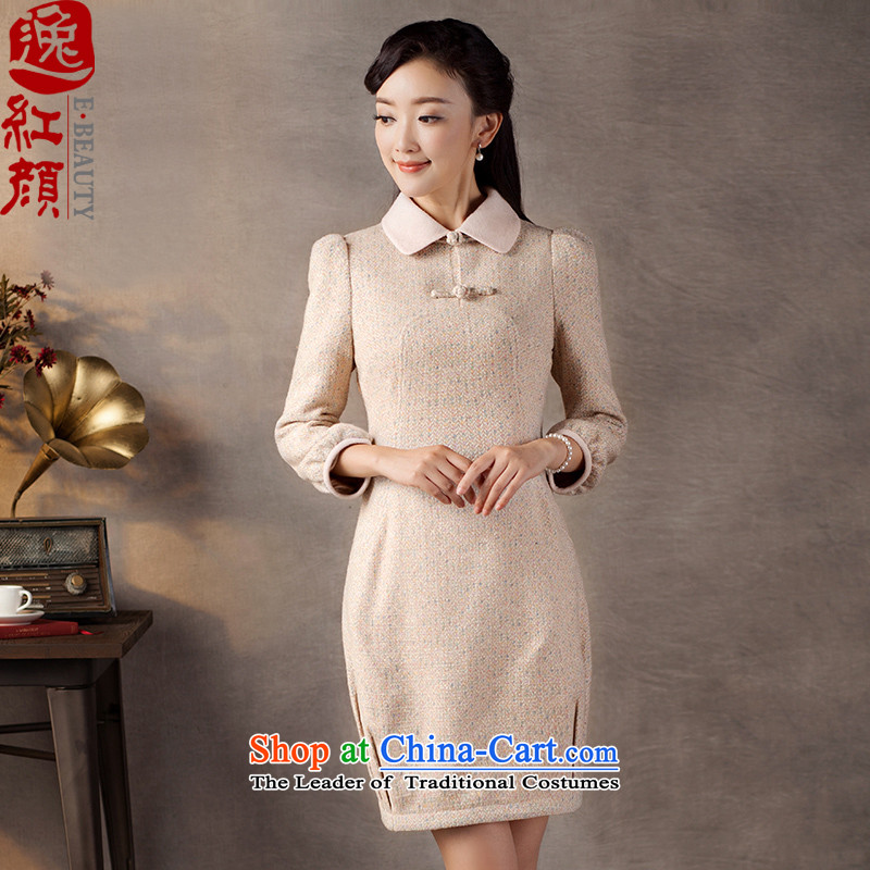 A Pinwheel Without Wind poems in thick Yat�2015 new product lines for autumn and winter dresses China wind arts retro women's dresses pink�2XL