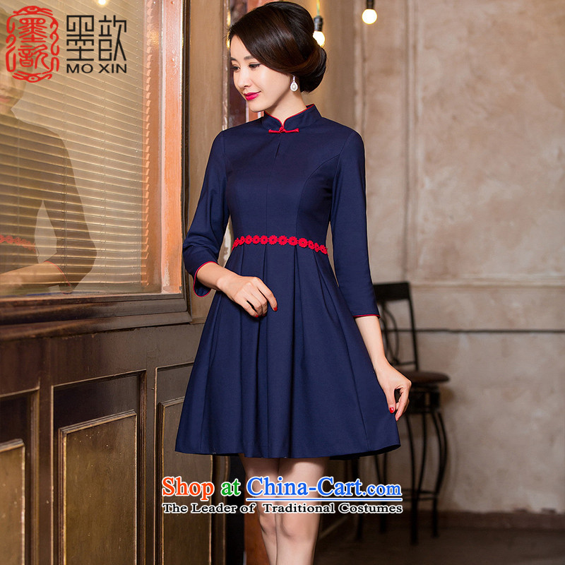 In accordance with the wind?2015 ink � improved cheongsam dress female autumn replacing cheongsam dress bride wedding bows services new seven-sleeved cotton?HY6088?DARK BLUE?XL