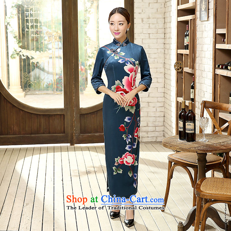 Ko Yo New Gigi Lai Sau San Tong Overgrown Tomb velvet cheongsam video thin warm 7 cuff poster stretch wool quilts qipao Kim skirt banquet skirt dresses T0012 T0012 L