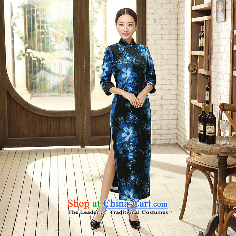 Ko Yo new qipao Overgrown Tomb Amaral stylish 7 Cuff Poster Stretch Wool 7 Cuff Kim qipao antique dresses and stable performance package skirt T0011-a T0011-A S