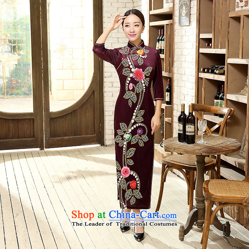 Ko Yo new qipao Overgrown Tomb Amaral skirt elegant Chinese 7 Cuff Poster Stretch Wool 7 Cuff Kim Sau San video thin cheongsam antique dresses package and T0008 T0008 XXL