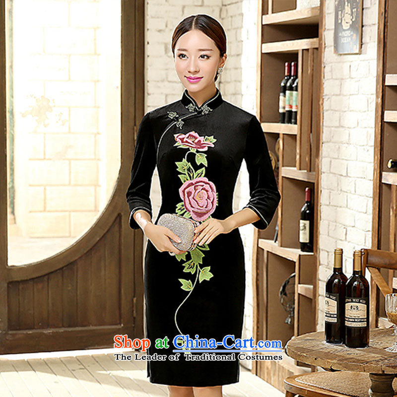 Ko Yo new qipao Overgrown Tomb Amaral stylish classic Sau San video thin poster Stretch Wool 7 Cuff Kim qipao antique dresses package and dresses T0013 TD0057-A XL