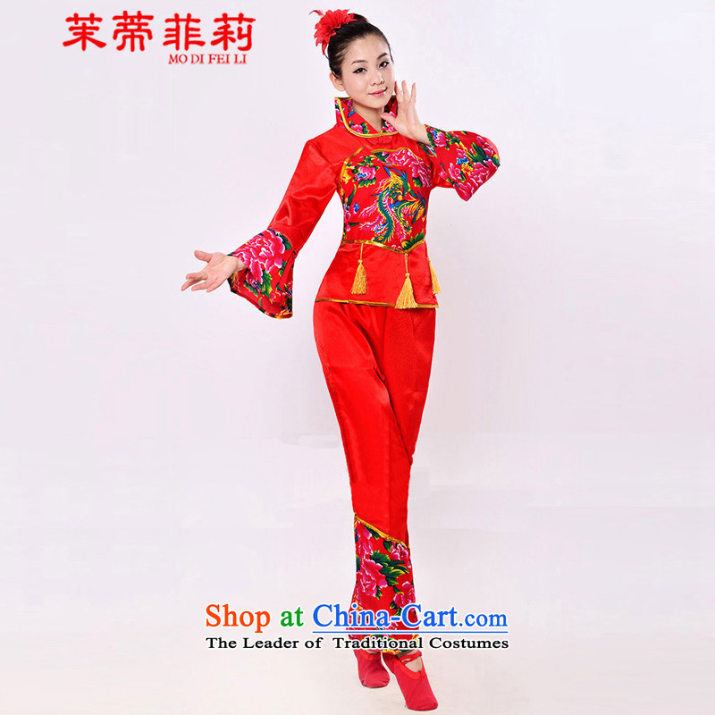 Energy Tifi Li yangko dance performances to women's national costumes theatrical performances waist encouraging fan dance wearing two performances to female red go without Maomao?3XL low breast 3 ft 6