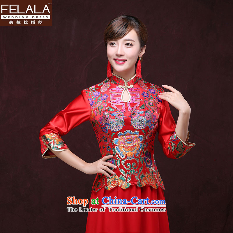 Aurora Javate de Dios?bride qipao fee 2015 married long drink service new red Chinese long-sleeved gown Soo Wo Service wedding dress winter)?XL Suzhou Shipment