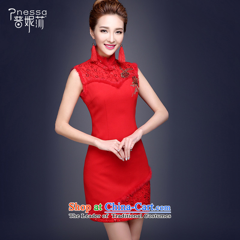 The Republika Srpska divas marriages qipao 2015 autumn and winter clothing short of qipao bows thick married women cheongsam lace Sau San video thin retro Chinese qipao bride red?L