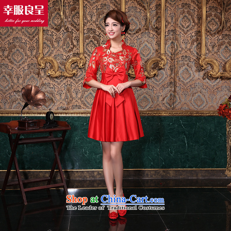 2015 new bride cheongsam red bows to the winter short of modern Chinese wedding dresses improved pregnant women in the wedding dress short-sleeved)?L
