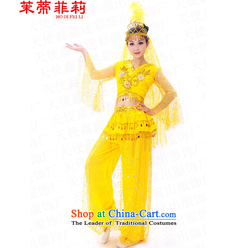 In Xinjiang Uygur Tifi Li dance service female燼dult new minorities 2015 square dance show services services yellow燬 India stage