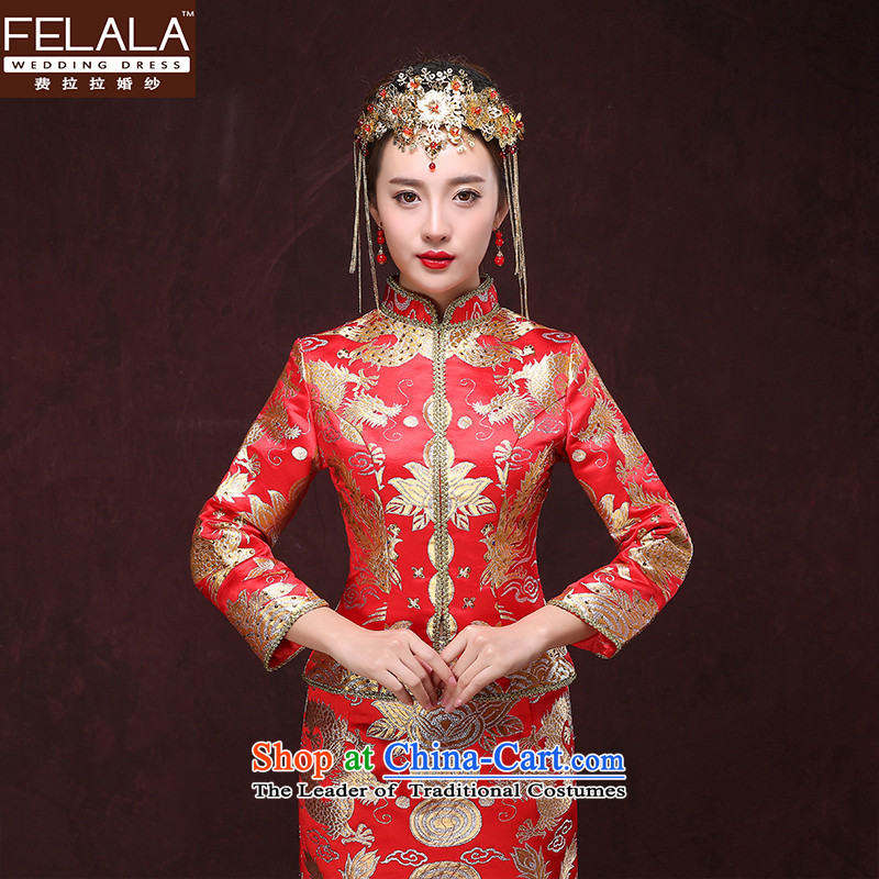 Costs of the爊ew bride Aurora Javate de Dios 2015 The Dragon and the classical Chinese style wedding wedding dress marriage red long winter of qipao bows services燲L Suzhou Shipment