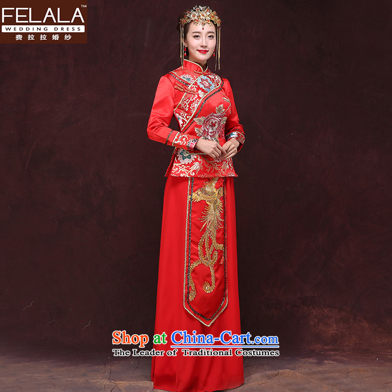Ferrara 2015 Winter_ Bride bows services qipao winter retro long long-sleeved gown cheongsam XL