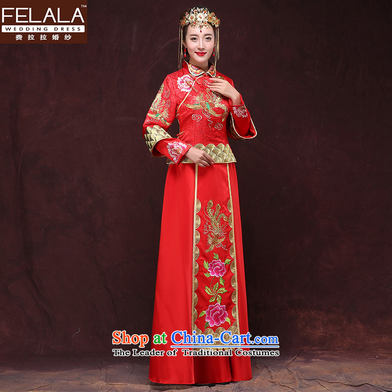 Ferrara 2015 Sau Wo Service New Chinese style wedding marriages wedding dress for winter large red dragon use bows frockcoat S