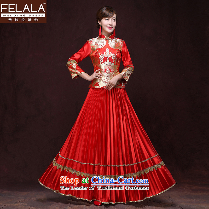 Ferrara new bride bows Services 2015 qipao Chinese Sau Wo kits. cuffs cheongsam wedding dress of autumn and winter, L