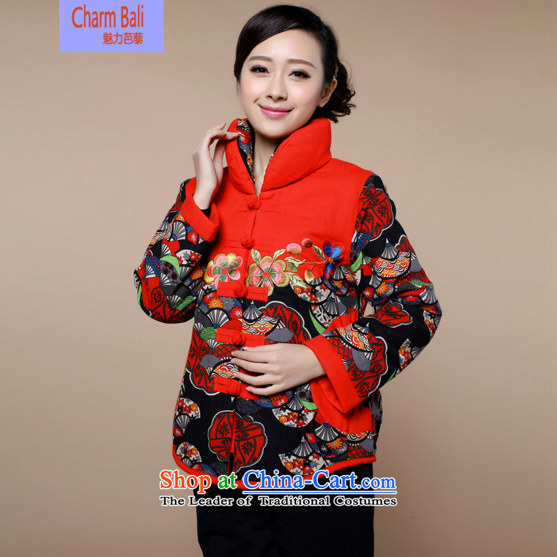 2015 winter clothing new retro embroidery XL Tang Dynasty Cotton, linen_cotton jacket female safflower services燲L