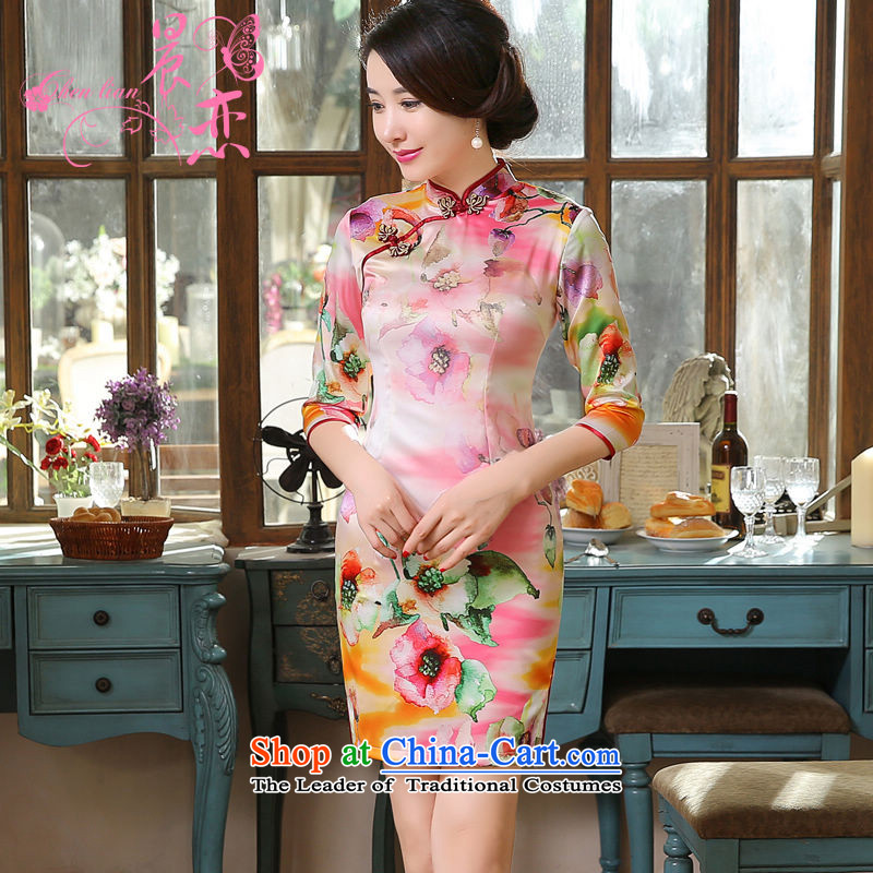 Morning spring and autumn 2015 Land New Stylish retro short, long-sleeved improved sauna silk cheongsam dress feminine suit燲XL