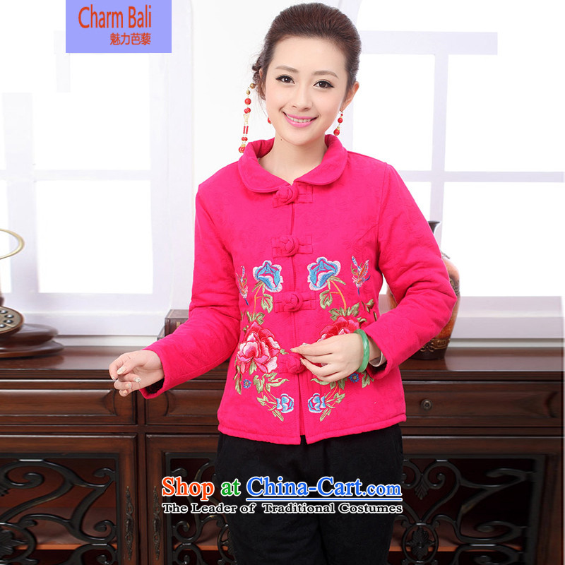 Ice rain dress for winter 2015 New Stylish retro embroidery XL Tang Gown of ethnic Cotton, linen/cotton jacket girl in serving?XXXL red T-Shirt