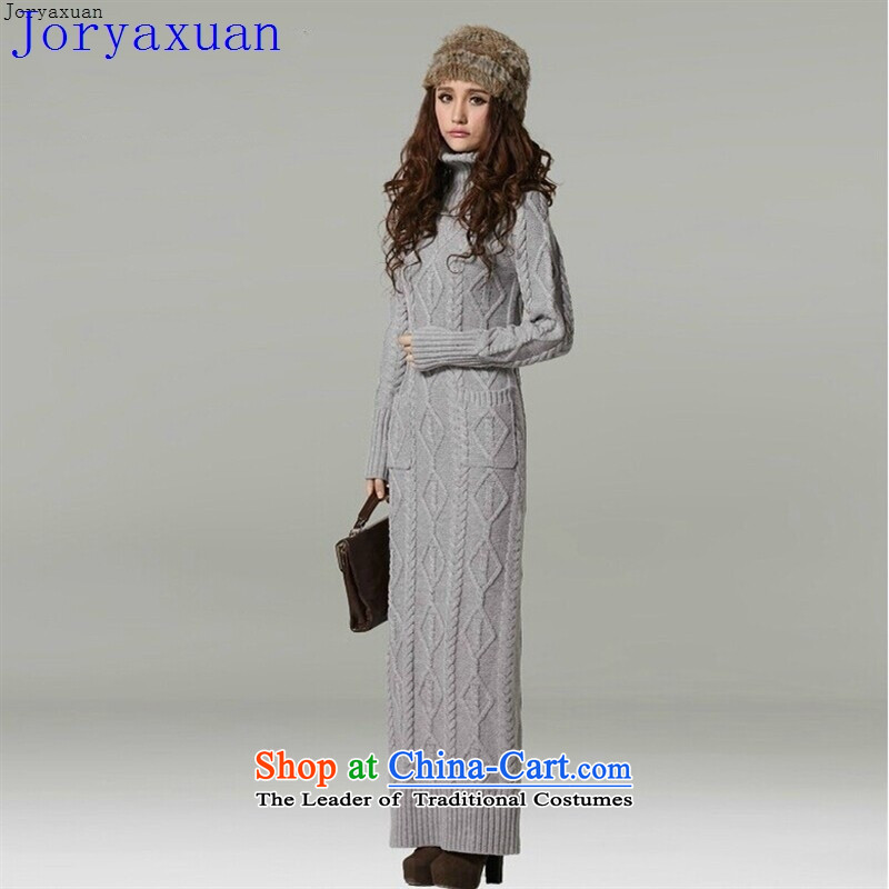Large autumn and winter joryaxuan female thick high collar kit and retro-ceiling extra long, twist sweater dresses light gray?M