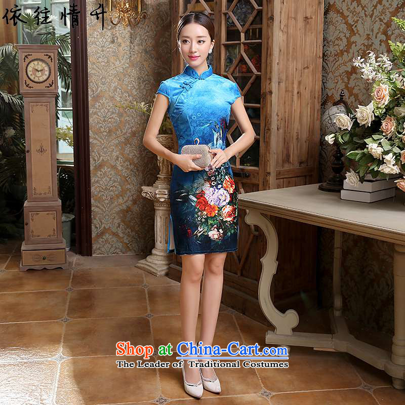 In accordance with the love in a trendy new for women Chinese collar is pressed to improved poster Tang dynasty, Sau San short qipao ancient /TD0048# Figure�2XL