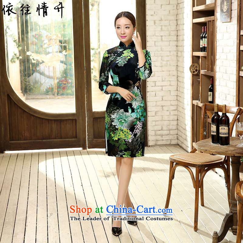 In accordance with the love of trendy new l of ethnic Chinese women's improved dresses and elegant Superior Sau San 7 cuff qipao ancient /TD0052# figure?L