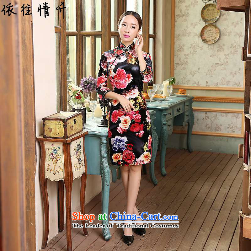 In accordance with the love of nostalgia for the improvement of Chinese modern l new women's Mock-neck disc detained seven Sau San Tong replacing old qipao cuff /TD0054# figure?S