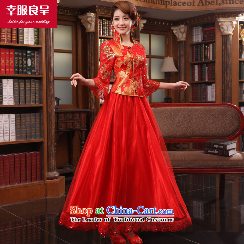 The privilege of serving-leung bows qipao autumn and winter clothing long large chinese red color bride replacing Wedding dress-in sleeve length dress + model with 26 Head Ornaments�L