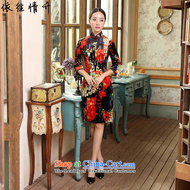 In accordance with the love in a trendy new of Chinese women's improved collar Classic tray clip, 7 short Sau San Tong replacing old qipao cuff _TD0055_ Figure 2XL