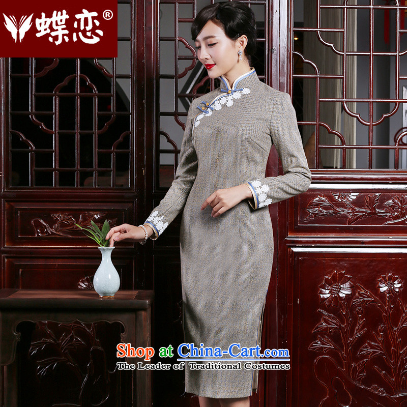 The Butterfly Lovers autumn 2015 new long-sleeved improved stylish cheongsam dress elegant Chinese long of daily fine of Qipao apricot?S
