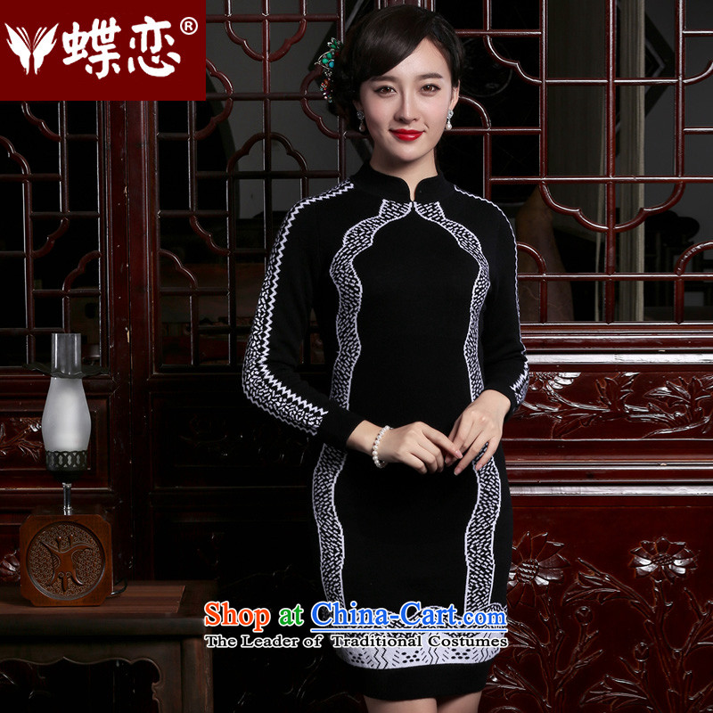 The Butterfly Lovers 2015 autumn and winter new women's Pure Wool retro knitting Sau San, forming the basis? cheongsam dress black - pre-sale 15 days M
