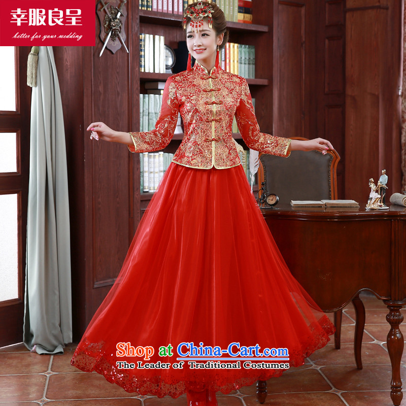 The privilege of serving-leung bows to the autumn and winter 2015 New Red Chinese wedding dress long-sleeved qipao bride long QIPAO)?L