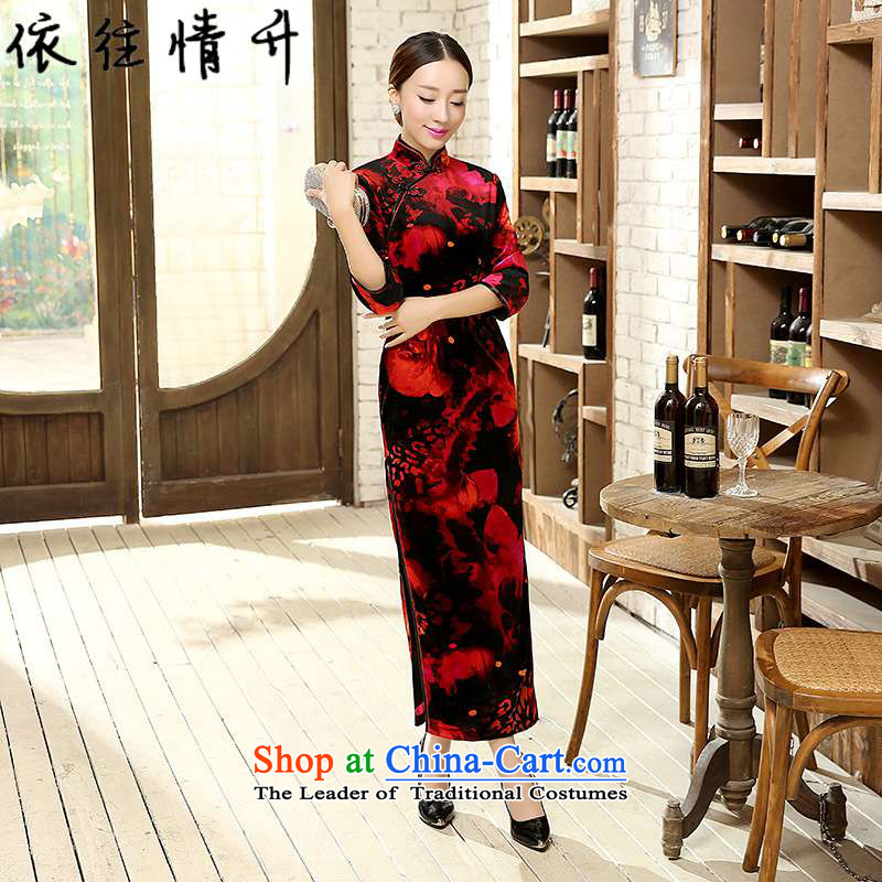 In accordance with the love of ethnic Chinese improvements in women's Mock-neck classical disc detained seven Sau San sleeve length cheongsam ancient /T00007# black and red?2XL