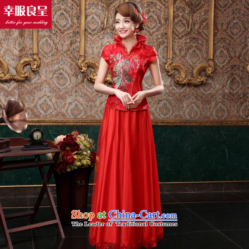 The privilege of serving-leung 2015 new red autumn and winter bride replacing wedding dress Chinese-style qipao bows services short-sleeved long dress + model with 26 Head Ornaments�L
