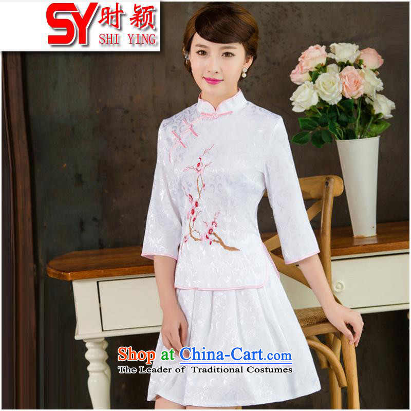 When autumn 2015 Ying new dresses retro style kit in the two-day qipao female 1019 sleeved White XXL