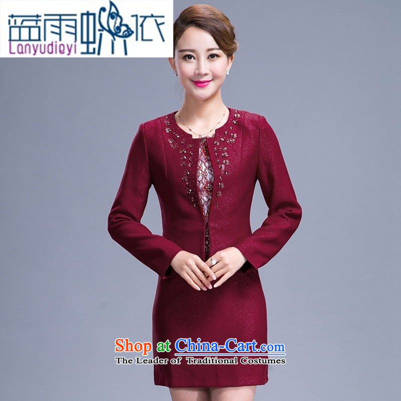 Shop 2015, Ya-ting of older women's new spring and autumn replacing dresses two kits middle-aged moms replacing temperament kit skirt 3XL wine red