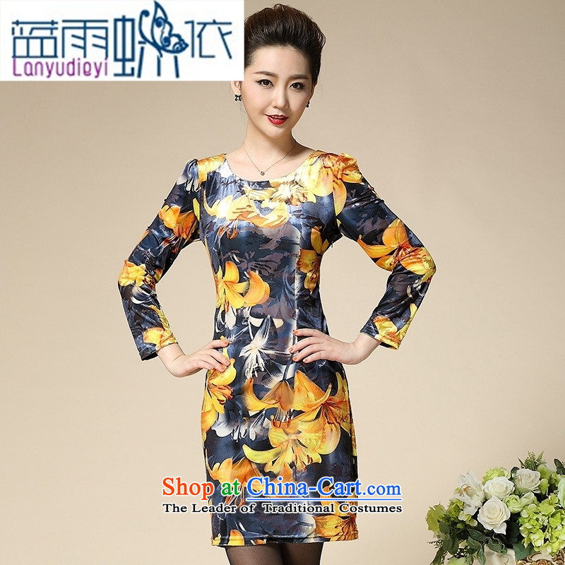 Ya-ting Shop Boxed new autumn 2015 Kim velvet middle-aged female replacing large long-sleeved autumn in old mother with Kim Choo hibiscus XXL