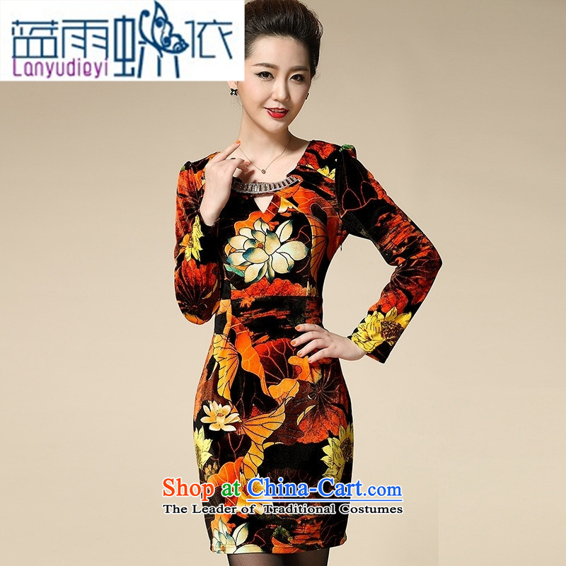 Ya-ting shops, the major new autumn code in long-sleeved blouses and noble MOM pack stylish older Kim velvet orange?M