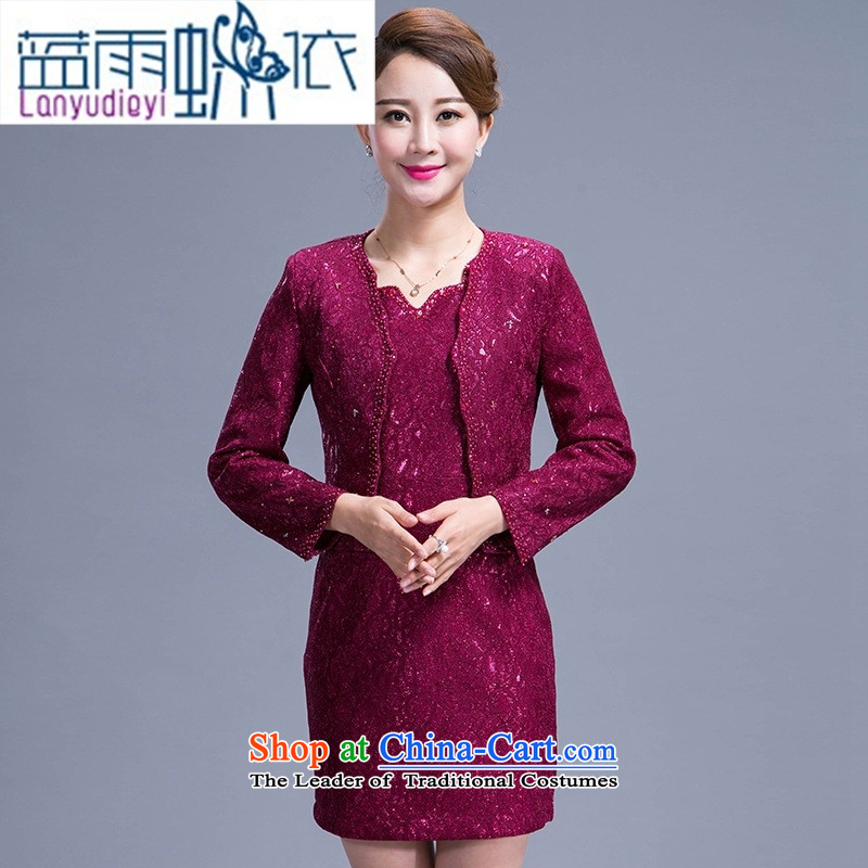 Ya-ting Shop Boxed new autumn 2015 Sau San wedding mother temperament dresses in the atmosphere of older women's large purple M