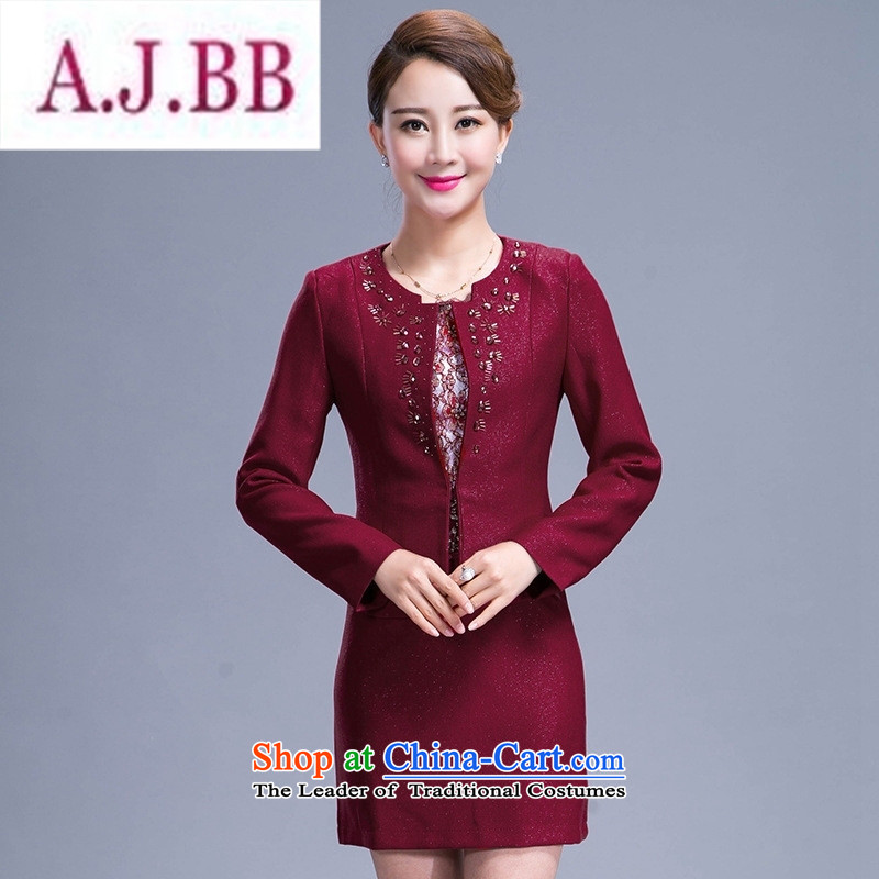 Ms Rebecca Pun and fashion boutiques in older women's 2015 new spring and autumn replacing dresses two kits middle-aged moms replacing temperament kit skirt wine red聽M
