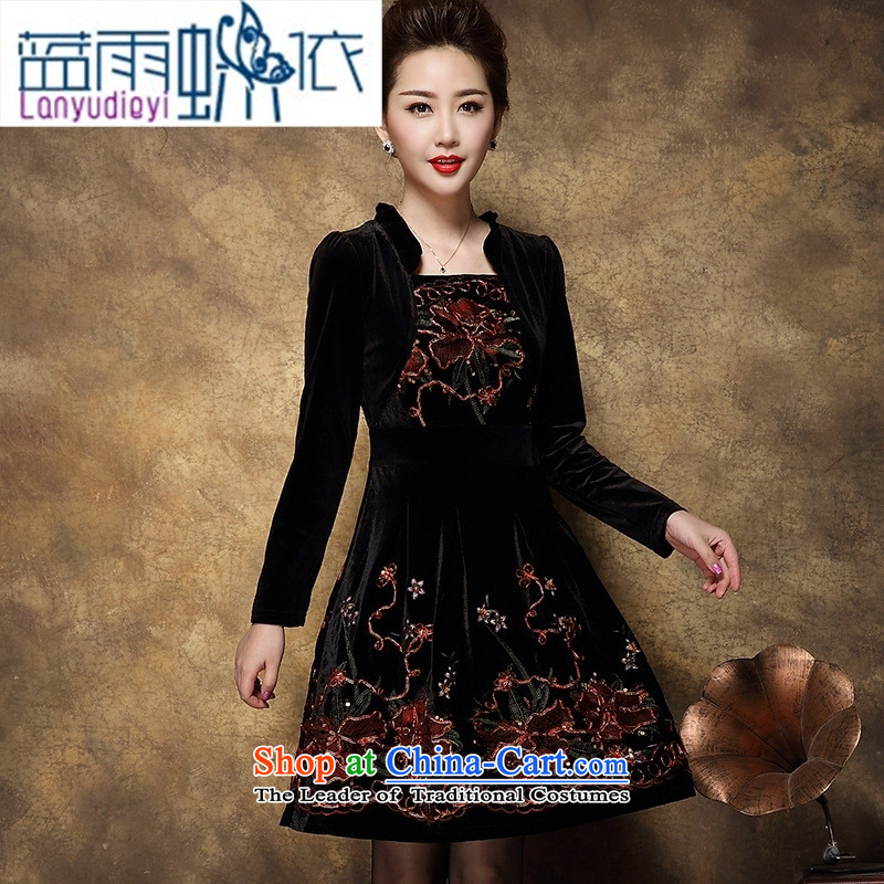 Shop 2015, Ya-ting of older women with the new Korean autumn edition temperament large long-sleeved mother   replacing dresses female black�M