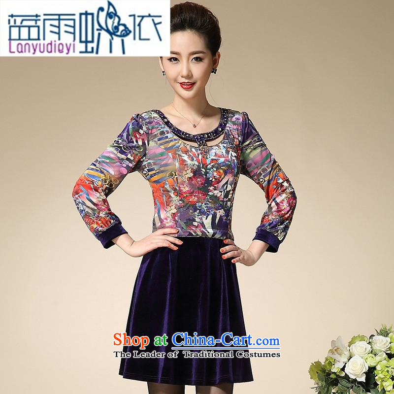 Ya-ting shop 2015 Autumn New_ Older women's larger mother inserts drill Western Kim long-sleeved black velvet XXXL